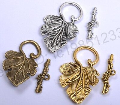 Hot 5Sets Silver & Golden Grape Jewelry Findings Leaf Toggle Clasp