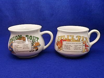 Vintage Pair of Recipe Soup Mugs / Cups - Stoneware - Split Pea & Onion Soup