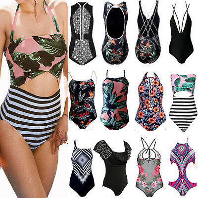 Plus Size Women One Piece Monokini Push Up Padded Bikini Swimsuit Swimwear Beach