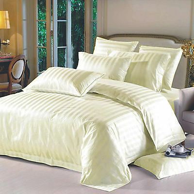 Luxury Tc-300 Hotel Quality Egyptian Cotton Satin Stripe Duvet Cover Set Cream