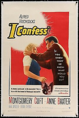 I CONFESS movie / film poster - linen backed - Hitchcock