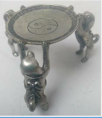 Ancient Asian china Tibet Silver Handmade dogs Plate Statue Oil Lamp Candlestick