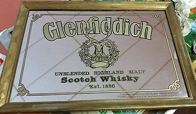 Vintage Glenfiddich Mirror Pub Bar Unblended Highland Malt Scotch Whisky Sign