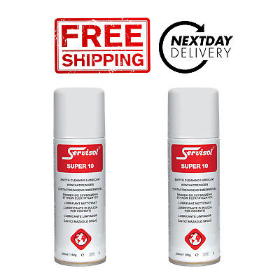 2 x Servisol Super 10 Switch Contact Cleaner Lubricant 200ml - 24h Tracked Post