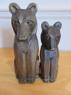 Rare Unusual Antique Hand Carved Black Forest Pair Of Bear Brushes