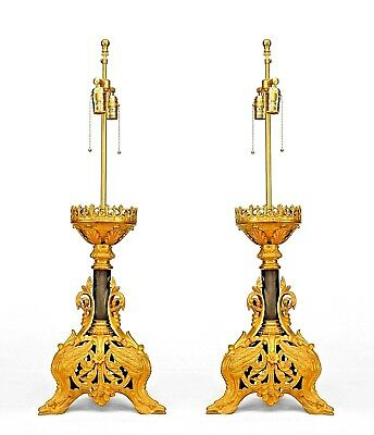 Pair of Italian Renaissance Style (19/20th Cent) Filigree Altar Sticks Lamps