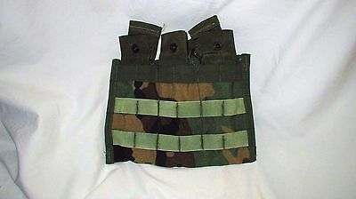 USGI ARMY SURPLUS MOLLE WC WOODLAND CAMO 3x30 ROUND MAGAZINE AMMO POUCH SHINGLE