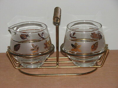 Vintage Libbey Glass Gold Leaf Foliage Cream & Sugar Set In Metal Caddy