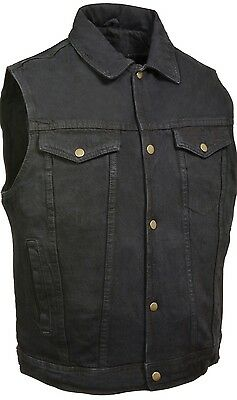 Men's Snap Front Denim Club Style Vest w/ Gun Pocket Milwaukee Leather Brand1331