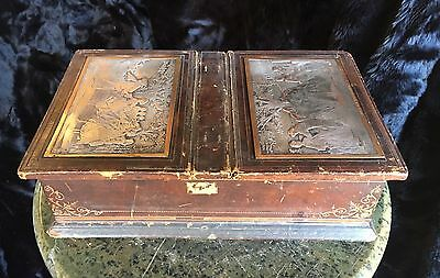 19th Century French Leather Clad Desk Box with Unique Watteau Printer Plates