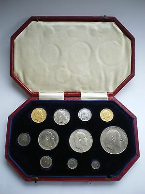 1902 EDWARD VII SILVER MATT PROOF 11 COIN SET - SOVEREIGN TO MAUNDY 1d WITH BOX