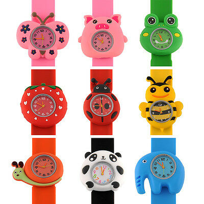 Cartoon Unisex Quartz Bendable Rubber Kids Strap Wrist Watch Cute Unique Pattern