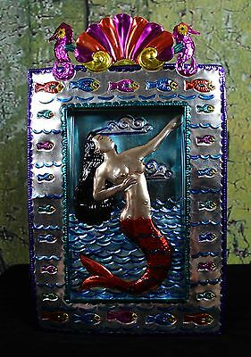 Sirena Mermaid Traditional Stamped Tin Retablo Mexican Folk Art Oaxaca Seahorse