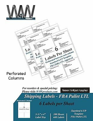 """Premium Shipping Labels - 6 Labels per sheet - 3.33""""x4"""" inch 6 Up Pallet sticker"""