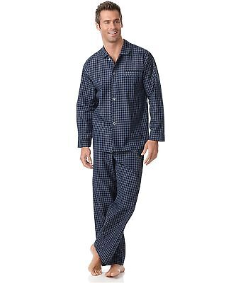 $105 CLUB ROOM Men's PAJAMA SET SHIRT PANTS Woven Blue Plaid LOUNGE SLEEPWEAR M