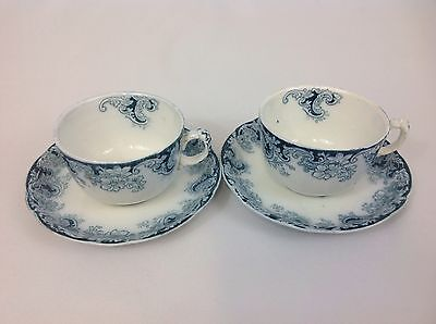 Alfred Meakin Ormonde TWO Cups and Saucers Antique Flow Blue Cobalt and White