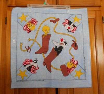 Tweety Bird & Sylvester Fabric Panel 1996 Looney Tunes Bandana Warner Brothers