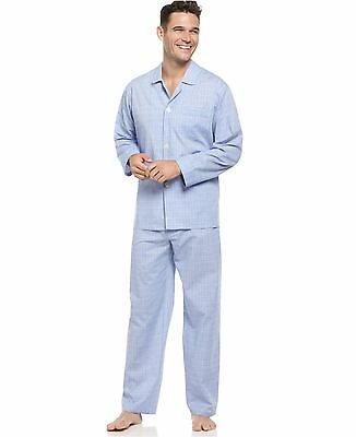 $104 CLUB ROOM Men's PAJAMA SET SHIRT PANTS Woven Blue Plaid LOUNGE SLEEPWEAR M