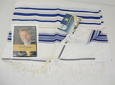 "Talitnia/Talis Prayer Shawl 24""x72"" - Blue/Gold/White & The Tallit Message CD"