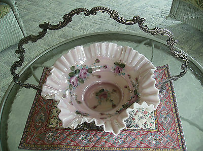 Antique Brides Basket, hand painted pink cabbage rose.Pale Pink Opalescent Glass
