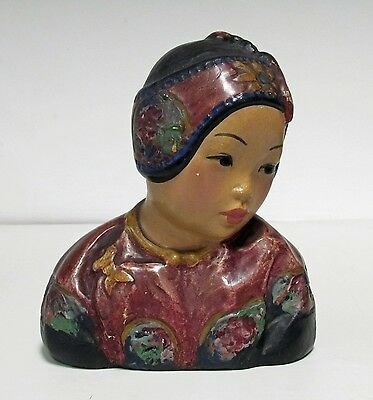 1920s ANTIQUE ESTHER HUNT POLYCHROME CHALKWARE BUST ~ LOTUS BUD