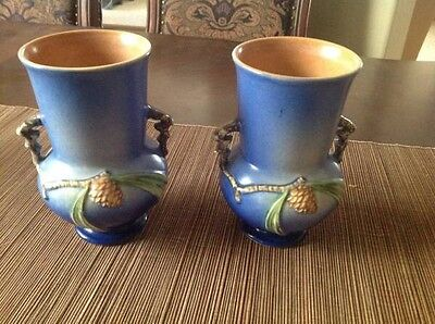 Pair of Vintage Roseville Blue Pine Cone Double-handled Vases (2)