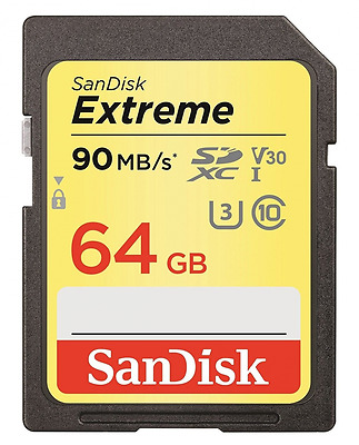 SanDisk Extreme 64 GB SDXC Memory Card up to 90 MB/s, Class 10, U3, V30, FFP