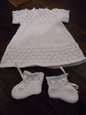 Newborn Baby's White Dress & Bootees. Size 0000. Style #1. Hand Made With Love.