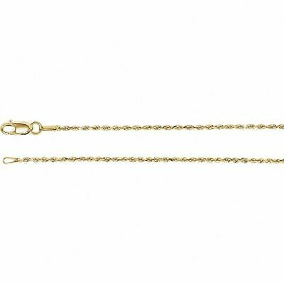 14K Yellow Gold Diamond Cut Rope Chain, 24 Inches Long 1.3 mm  - CH947