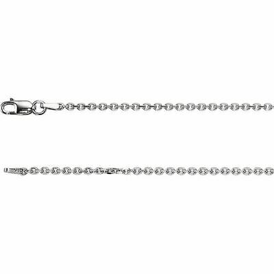 14K White Gold Diamond Cut Cable Chain, 16 inches Long 1.75 mm CH125WG