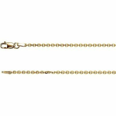 14K Yellow Gold Diamond Cut Cable Chain, 16 inches Long 1.75 mm CH125G