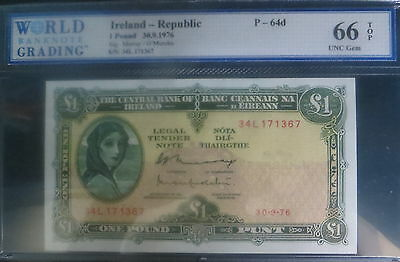 Irish Ireland  Wbg-66 Gem Unc 1976 Pound Note