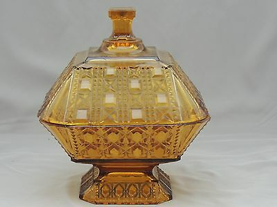 Antique Valencia Waffle Amber Covered Compote Adams & Co circa 1885 EAPG