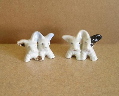 "2 Vintage Ceramic Scottie Dogs Figurines Made in Japan Each Pair 1.5"" Tall"