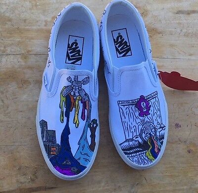 White slip on Vans (women) twenty one pilots self titled shoes size 7.5