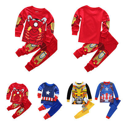 2pcs Baby Kids Boy Iron Man Captain America Pyjamas Sleepwear Nightwear Pajamas