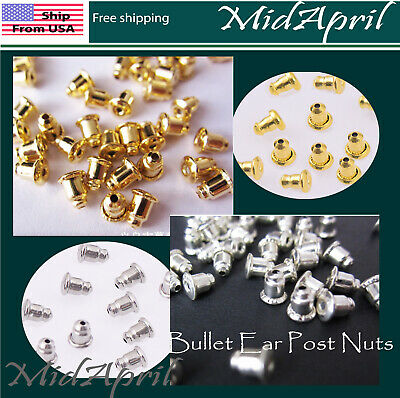 Earring Backs Gold  or Silver Plated Stopper Bullet Ear Post Nuts US SELLER
