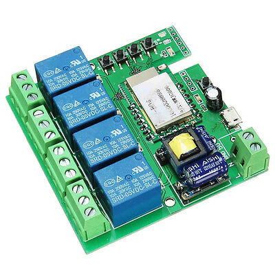 AC 220V WiFi Wireless 4-way Relay Control Delay Switch Module For Smart Home