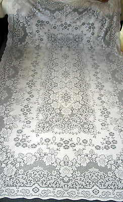 "Vintage Lace Tablecloth 124""by24""  Tea Party Shabby/ Victorian style, Beautiful"