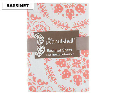 The Peanut Shell Medallion Fitted Bassinet Sheet - Coral/White