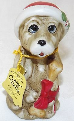 "Jasco 1980 Porcelain Christmas Dog Critter Bell NWT 4"" tall"