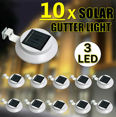 NEW 2017 Version 50% Brighter 10X 3-LED Solar Fence Gutter Outdoor Garden Lights
