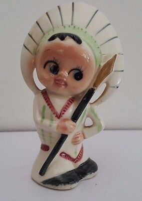 Vintage American Indian Googly Eye Salt Shaker - Japan