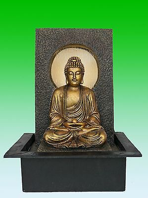 NEW Waterfall Buddha Water Feature Indoor Water fountain Rain Effect 40cm Tall