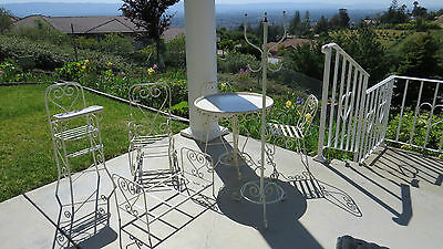 Darling Vintage Style Quality White Iron & Brass Child's Table & 2 HEART Chairs