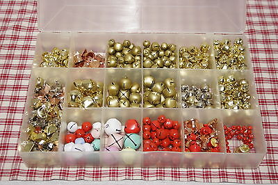 Box LOT Mixed Jingle Bells multi-coloured and sized for CHRISTMAS CRAFTS, NEW!