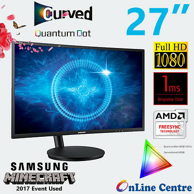 "Samsung 27"" Quantum Dot Curved Gaming Monitor 125% sRGB 144Hz 2ms FreeSync"