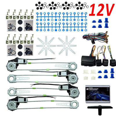 UNIVERSAL Electric Power Window Kits DC 12V CONVERSION ROLL UP KIT 4 DOORS CAR