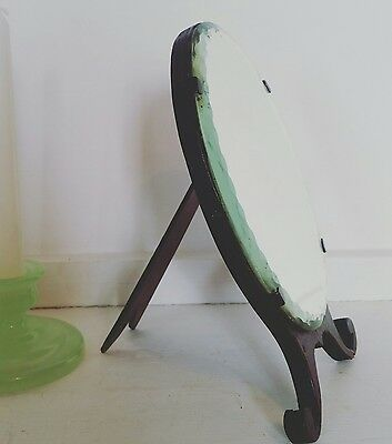 VINTAGE Art Deco 20s/30s Bevelled Edge Oval Mirror on Dark Wood Stand