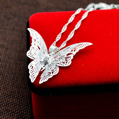 Silver Plated Hollow Necklace Chain Present Charm Gift Women Butterfly Pendant